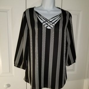 (2/$20)  Maurices Striped Blouse Criss Cross M